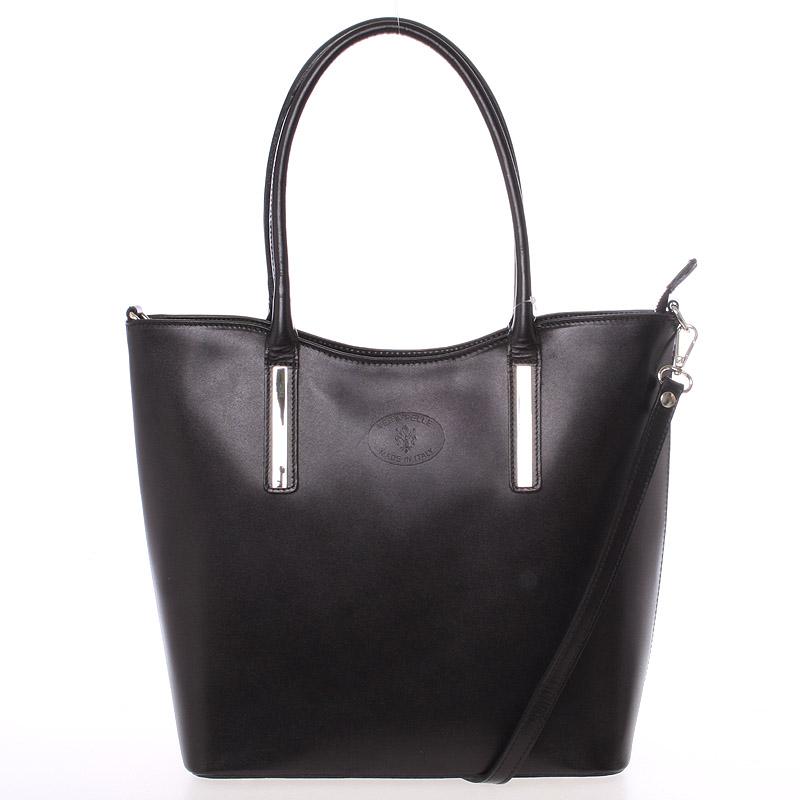 Elegantní černá kožená kabelka přes rameno - ItalY Madeline