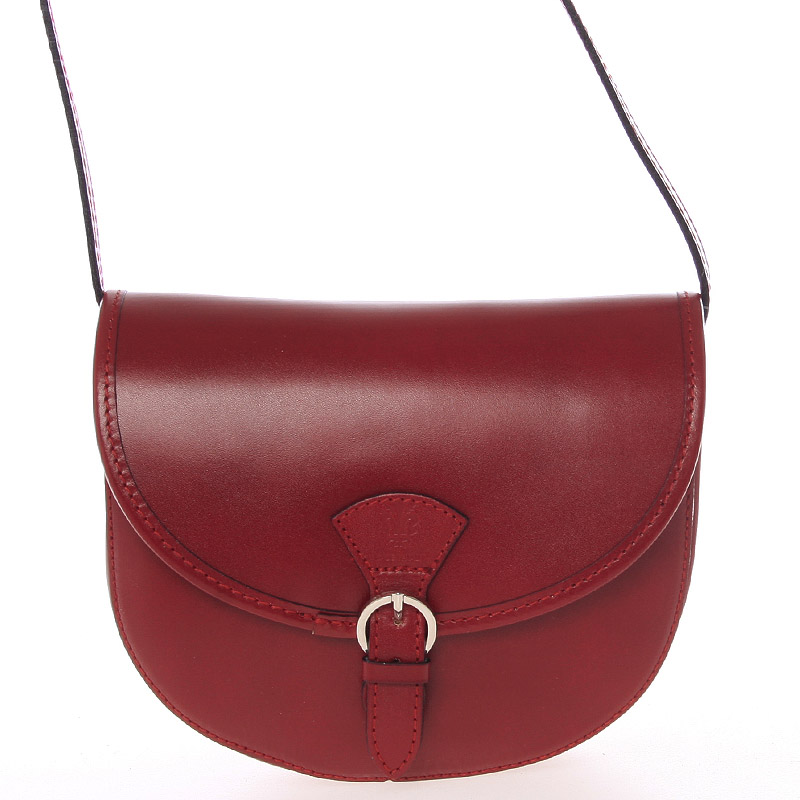Malá červená pevná crossbody kožená kabelka - ItalY EmRoya