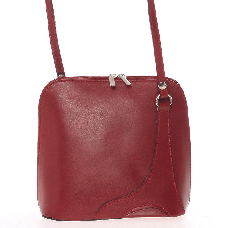Dámská kožená crossbody kabelka červená - ItalY Branah