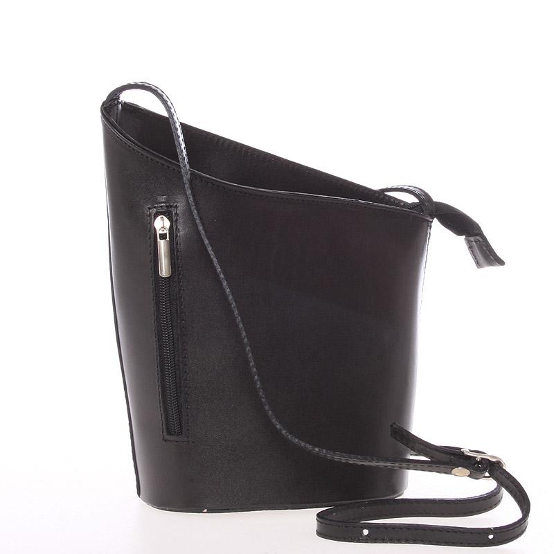 Originální černá kožená crossbody kabelka - ItalY Meidi