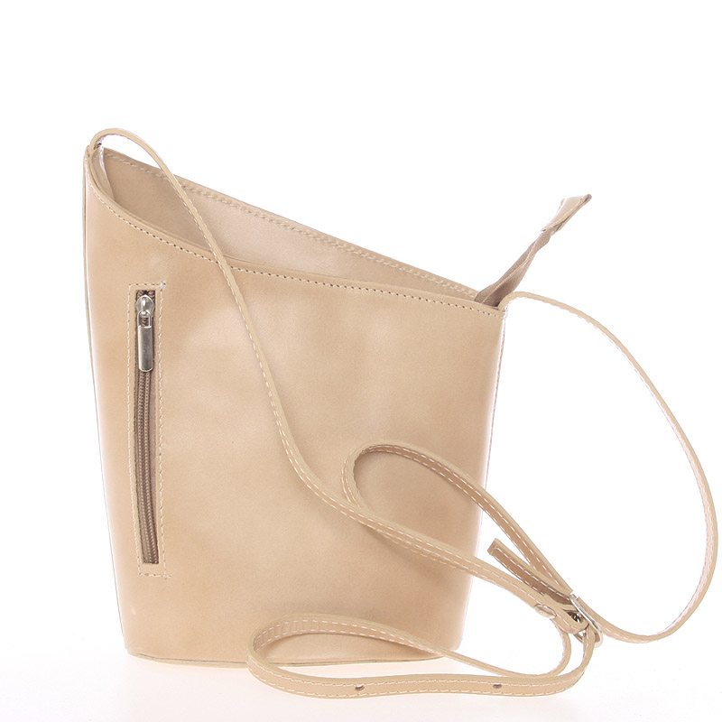 Originální světlá taupe kožená crossbody kabelka - ItalY Meidi