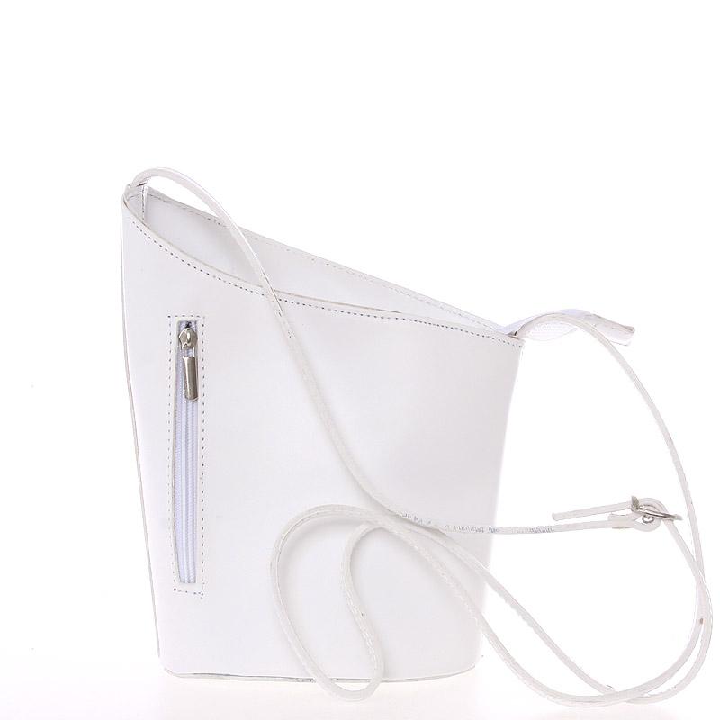 Originální bílá kožená crossbody kabelka - ItalY Meidi