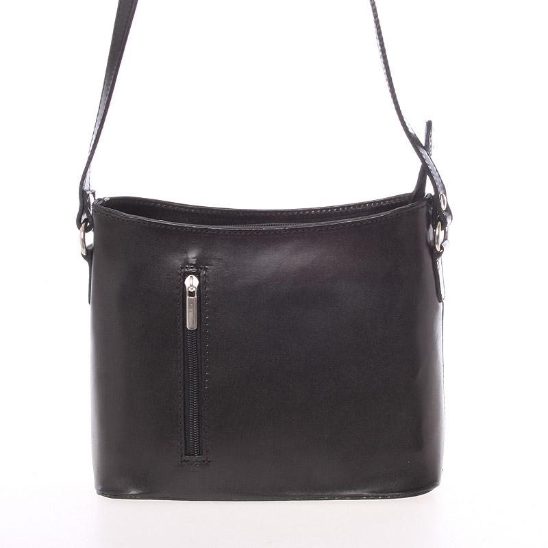 Malá černá kožená crossbody kabelka  - ItalY Madora