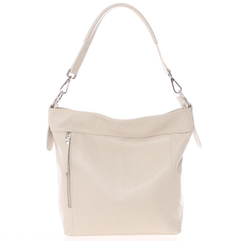 Módní dámská kožená kabelka béžová - ItalY Margareta