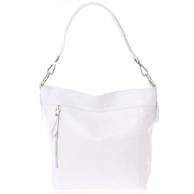 Módní dámská kožená kabelka bílá - ItalY Margareta