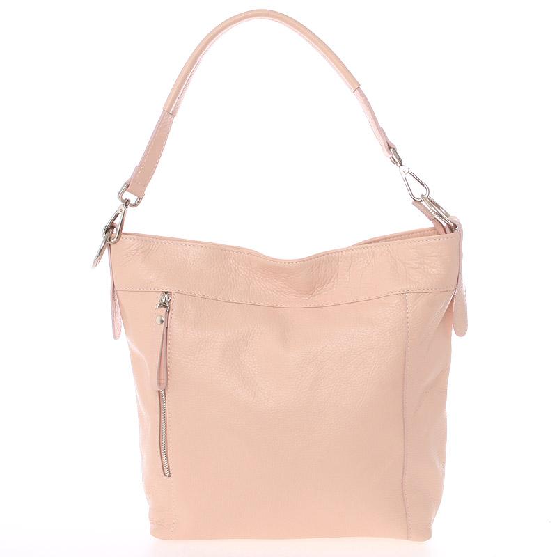 Módní dámská kožená kabelka světle růžová - ItalY Margareta