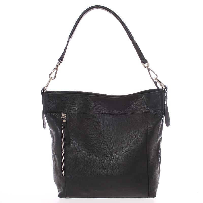 Módní dámská kožená kabelka černá - ItalY Margareta