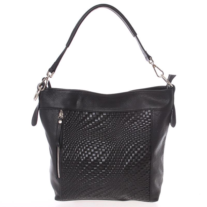 Módní dámská kožená kabelka černá se vzorem - ItalY Margareta