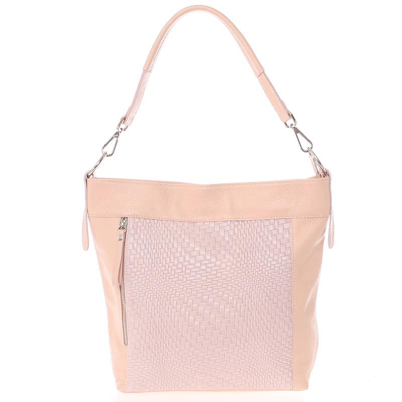 Módní dámská kožená kabelka světle růžová se vzorem - ItalY Margareta