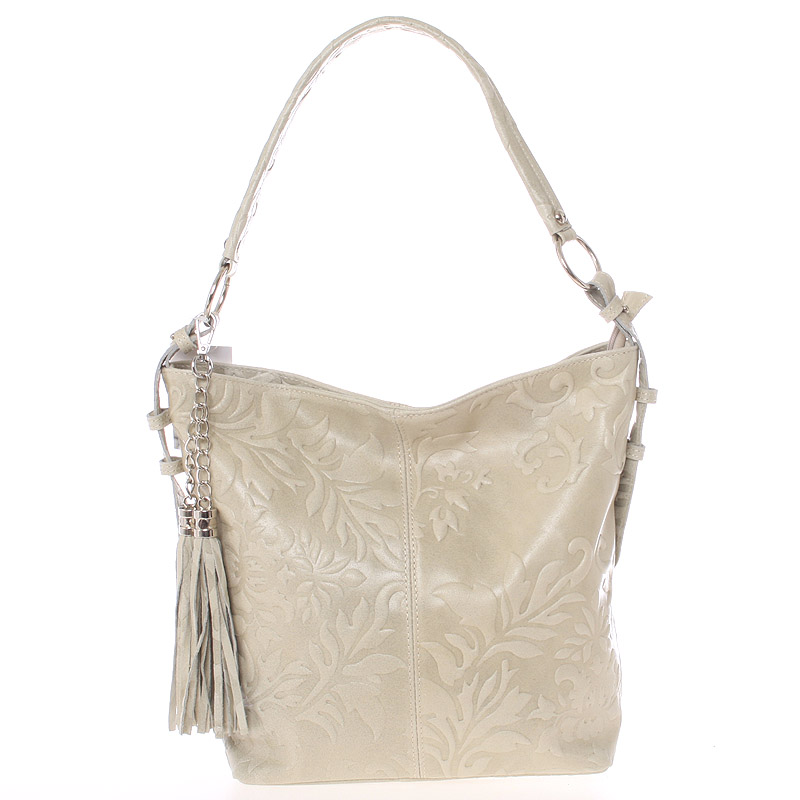 Dámská kožená kabelka přes rameno světle béžová - ItalY Heather