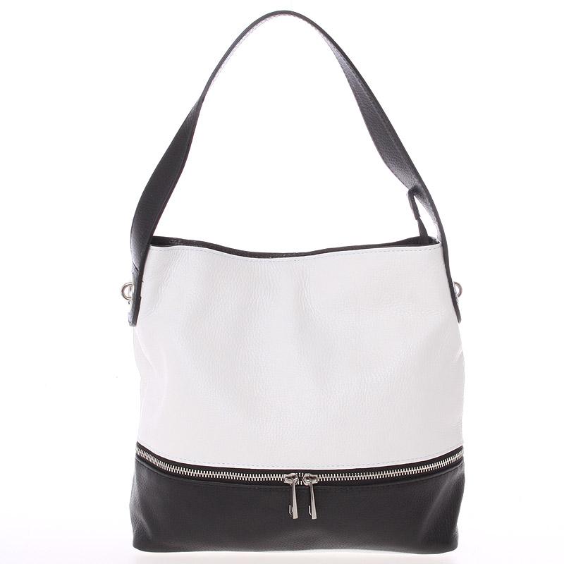 Dámská kožená kabelka přes rameno bílo černá - ItalY Miriam