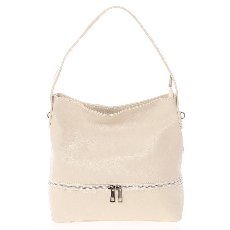 Dámská kožená kabelka přes rameno béžová - ItalY Miriam