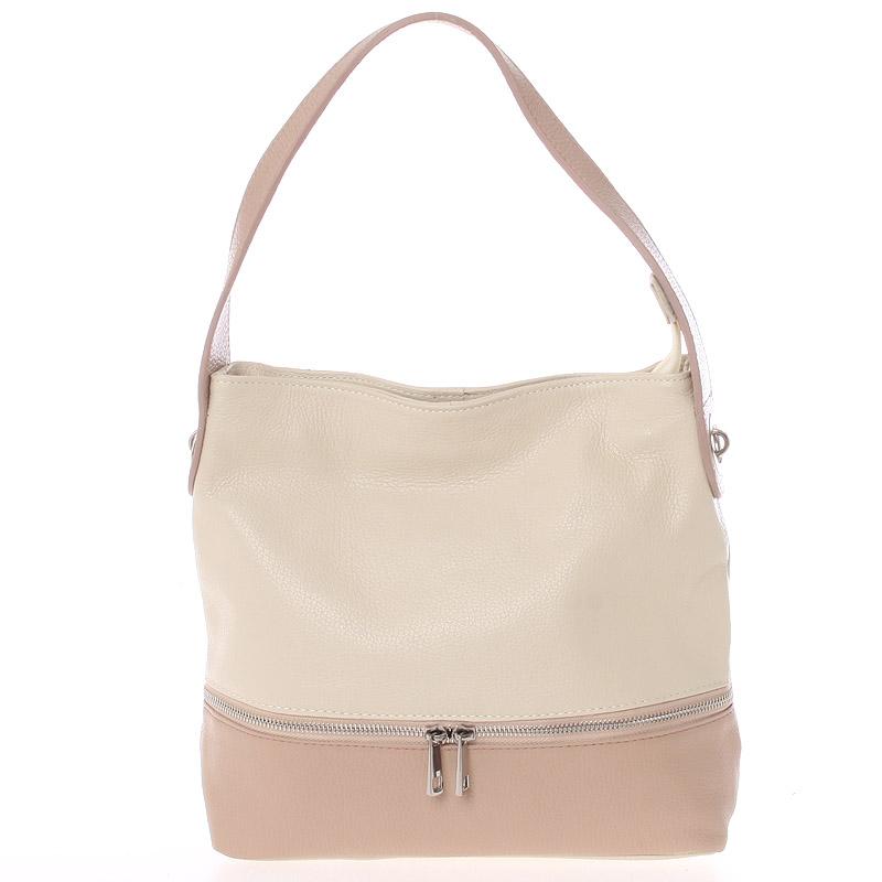 Dámská kožená kabelka přes rameno béžovo růžová - ItalY Miriam