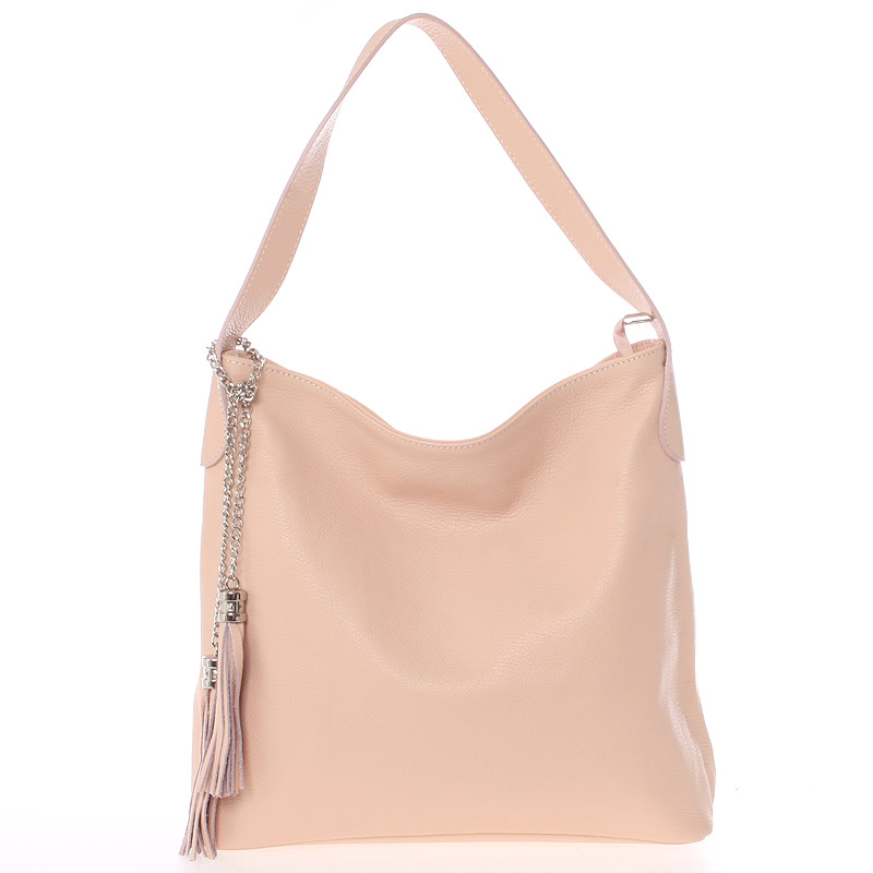 Módní kožená kabelka přes rameno světle růžová - ItalY Georgine