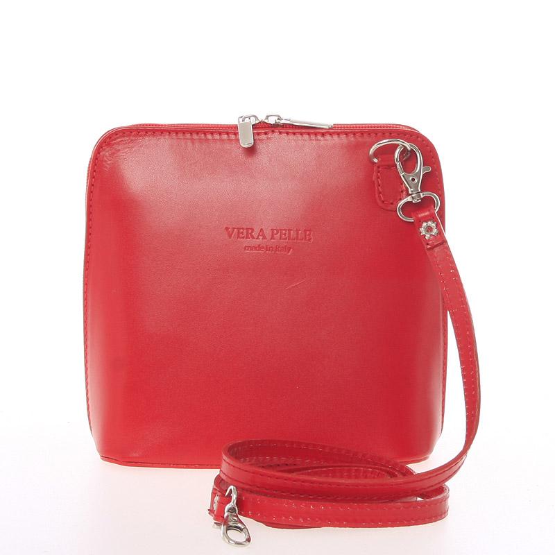 Dámská kožená crossbody kabelka světle červená - ItalY Hannah