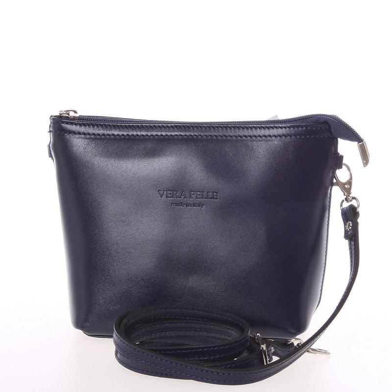 Dámská kožená crossbody kabelka tmavě modrá - ItalY Garnet
