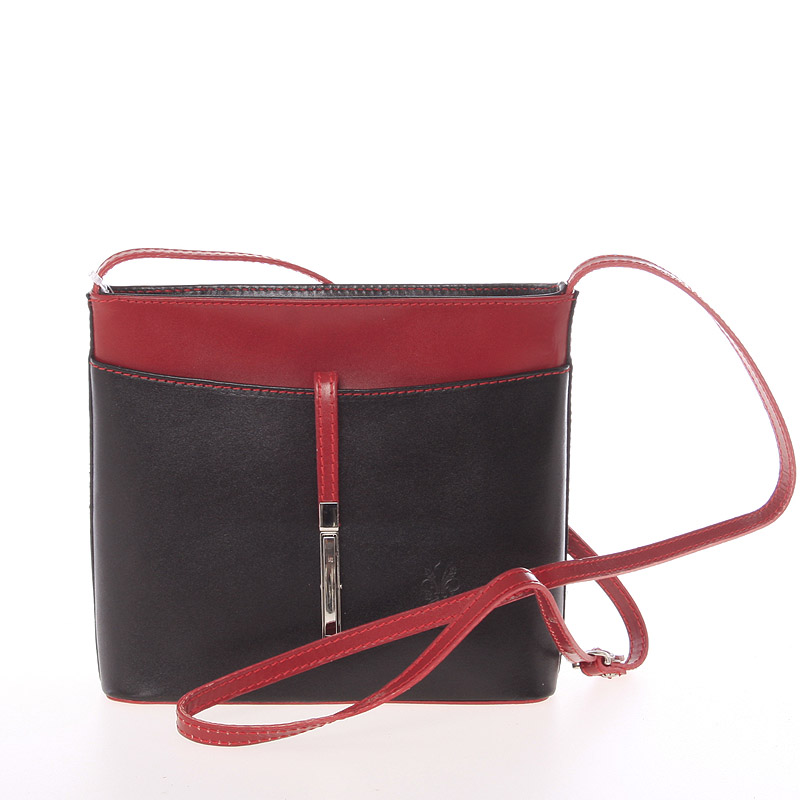 Dámská kožená crossbody kabelka černo-červená - ItalY Aneta