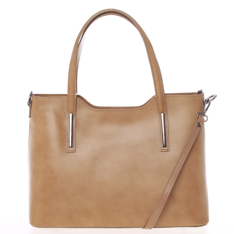 Větší kožená kabelka taupe - ItalY Sandy