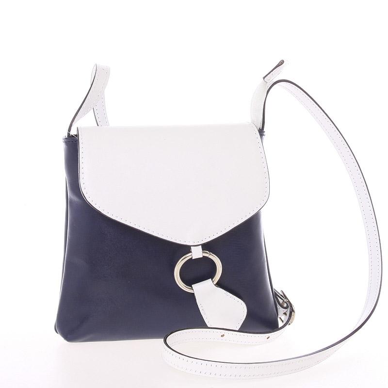 Dámská kožená crossbody kabelka modro bílá - ItalY Saffie