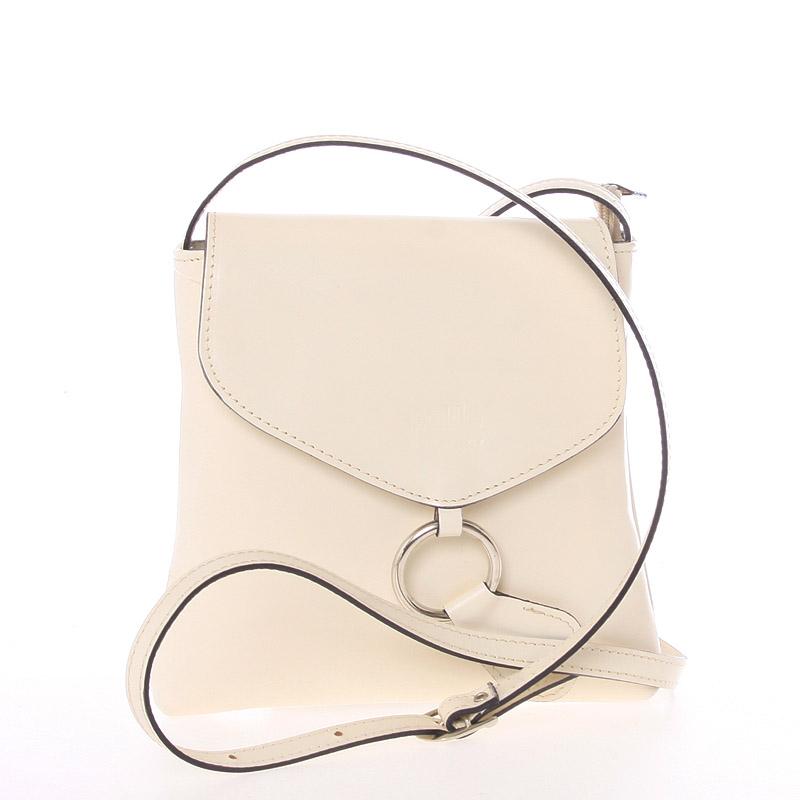 Dámská kožená crossbody kabelka béžová - ItalY Saffie