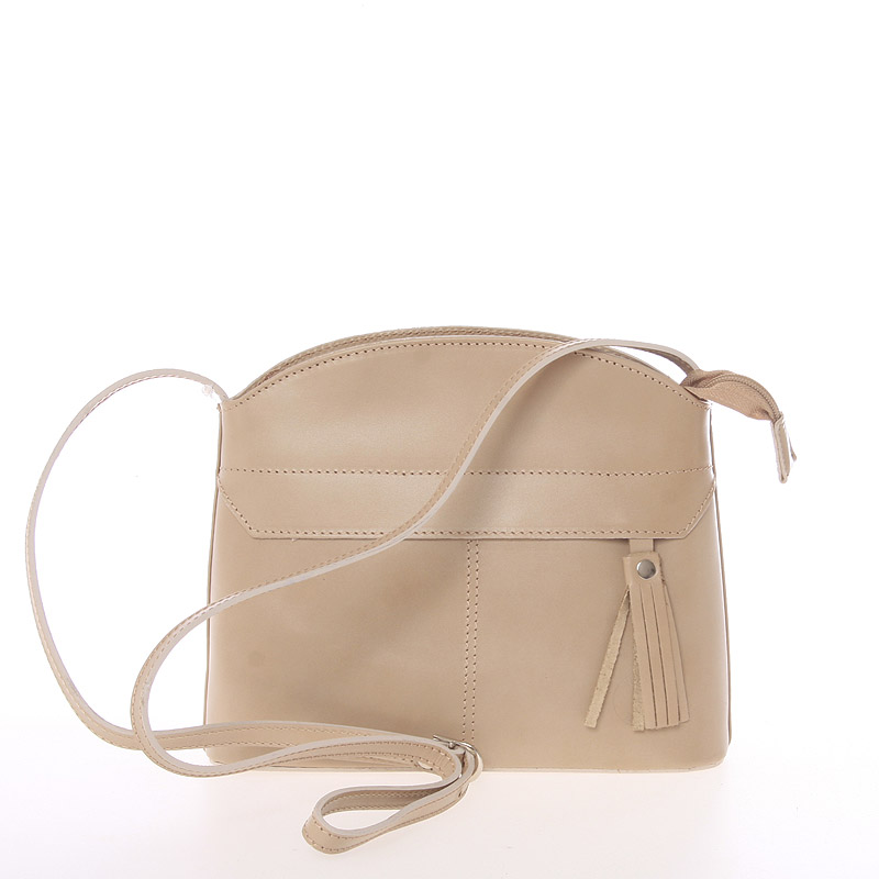 Tmavá béžová kožená crossbody kabelka - ItalY Marla