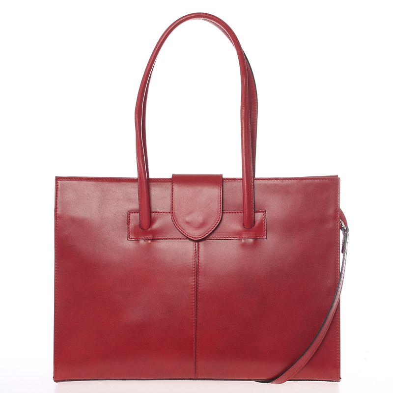 Velká elegantní dámská kožená kabelka červená - ItalY Zyphire