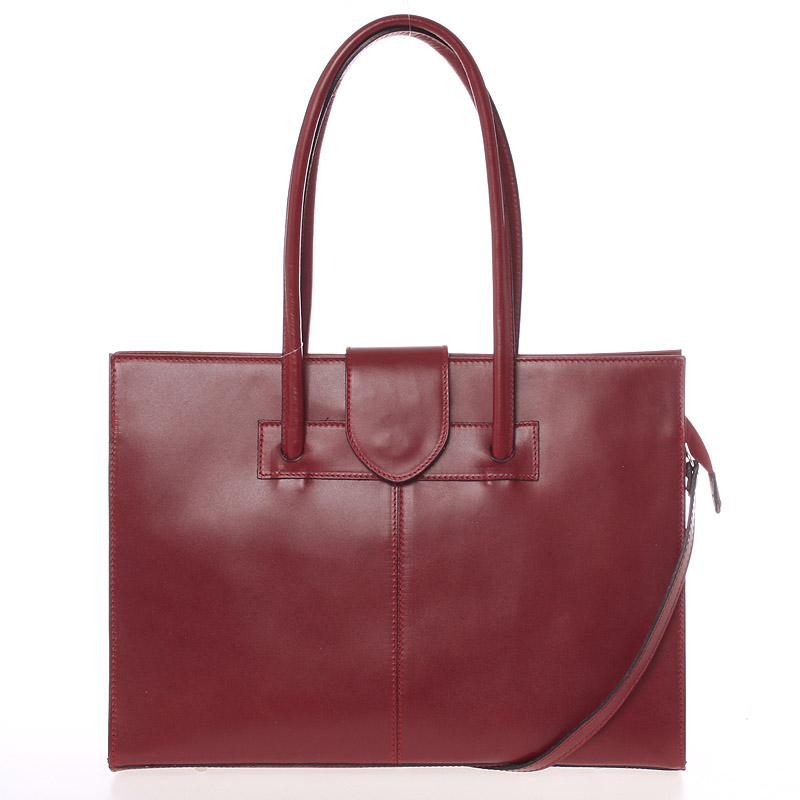 Velká elegantní dámská kožená kabelka tmavě červená - ItalY Zyphire