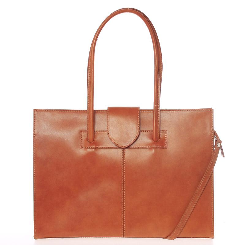 Velká elegantní dámská kožená kabelka koňaková - ItalY Zyphire