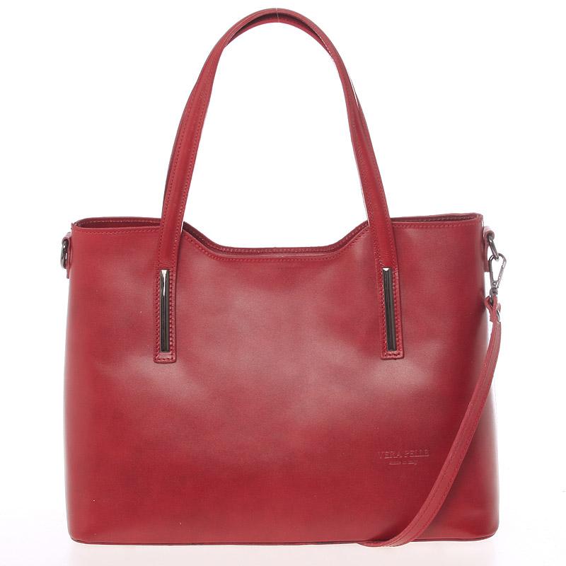 Větší kožená kabelka červená - ItalY Sandy