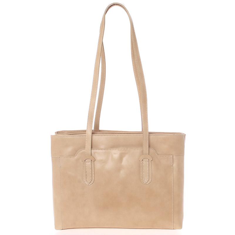 Elegantní velká dámská kožená kabelka taupe - Italy Vilmaris