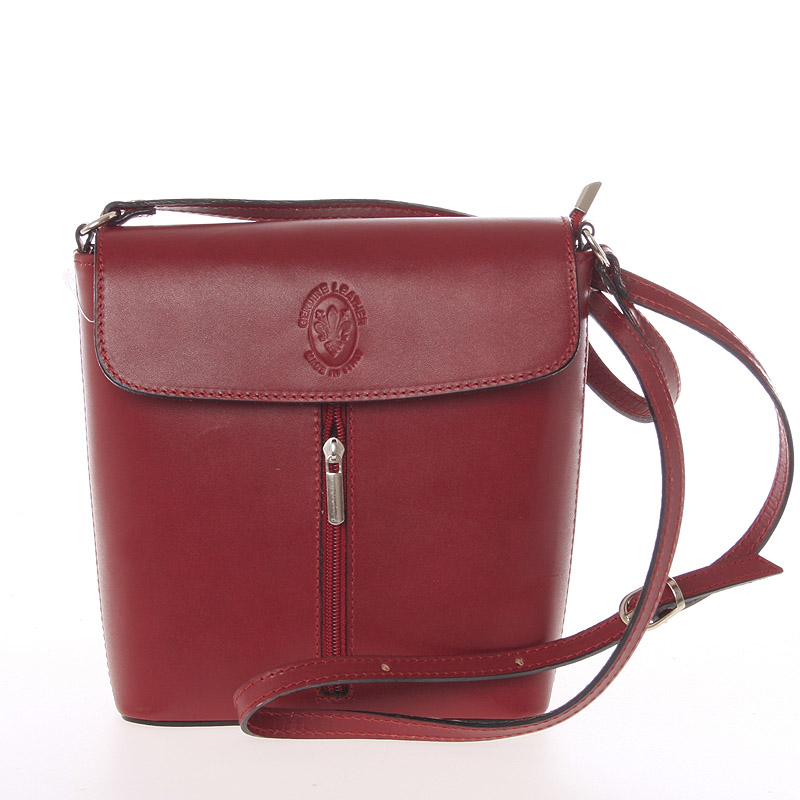 Dámská kožená crossbody kabelka červená - ItalY Marketa