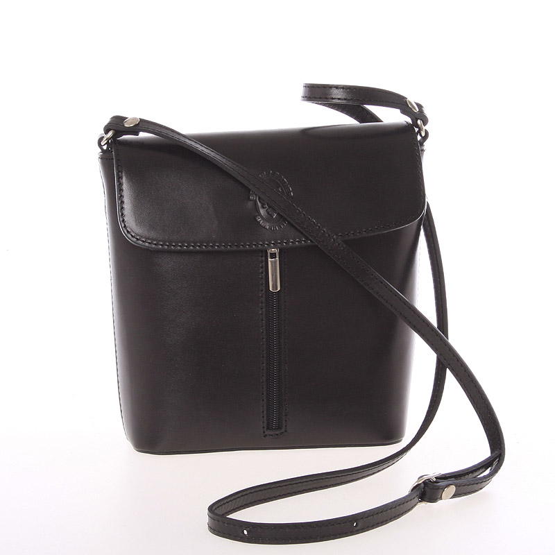 Dámská kožená crossbody kabelka černá - ItalY Marketa
