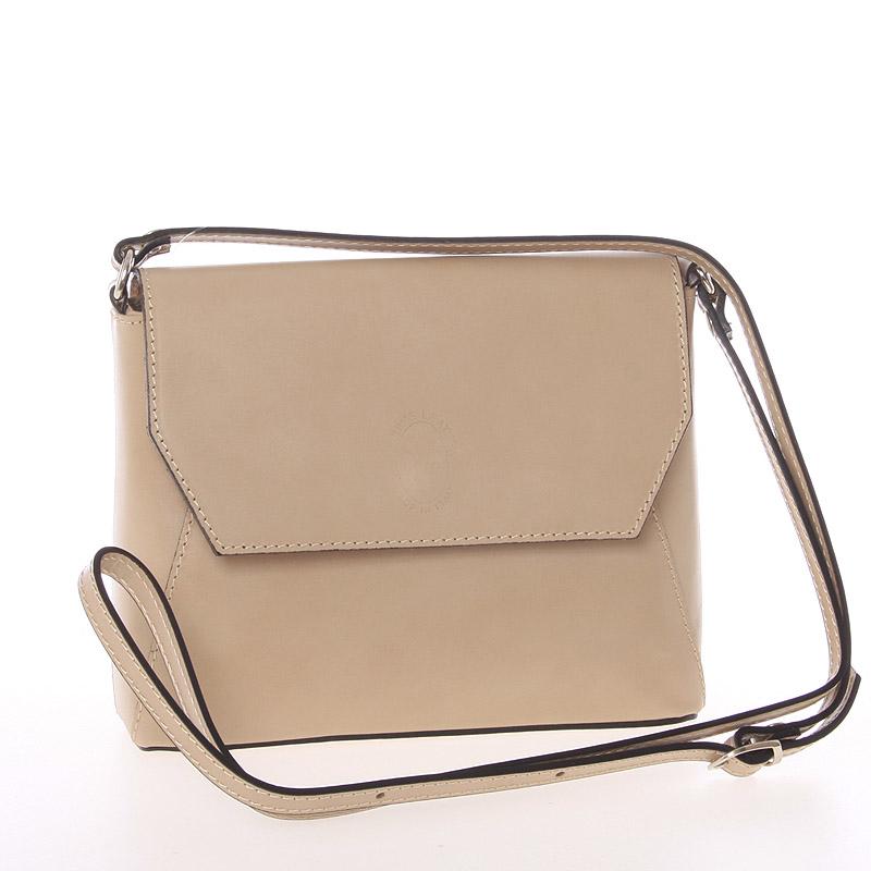 Dámská kožená crossbody kabelka světlá taupe - ItalY Marleta
