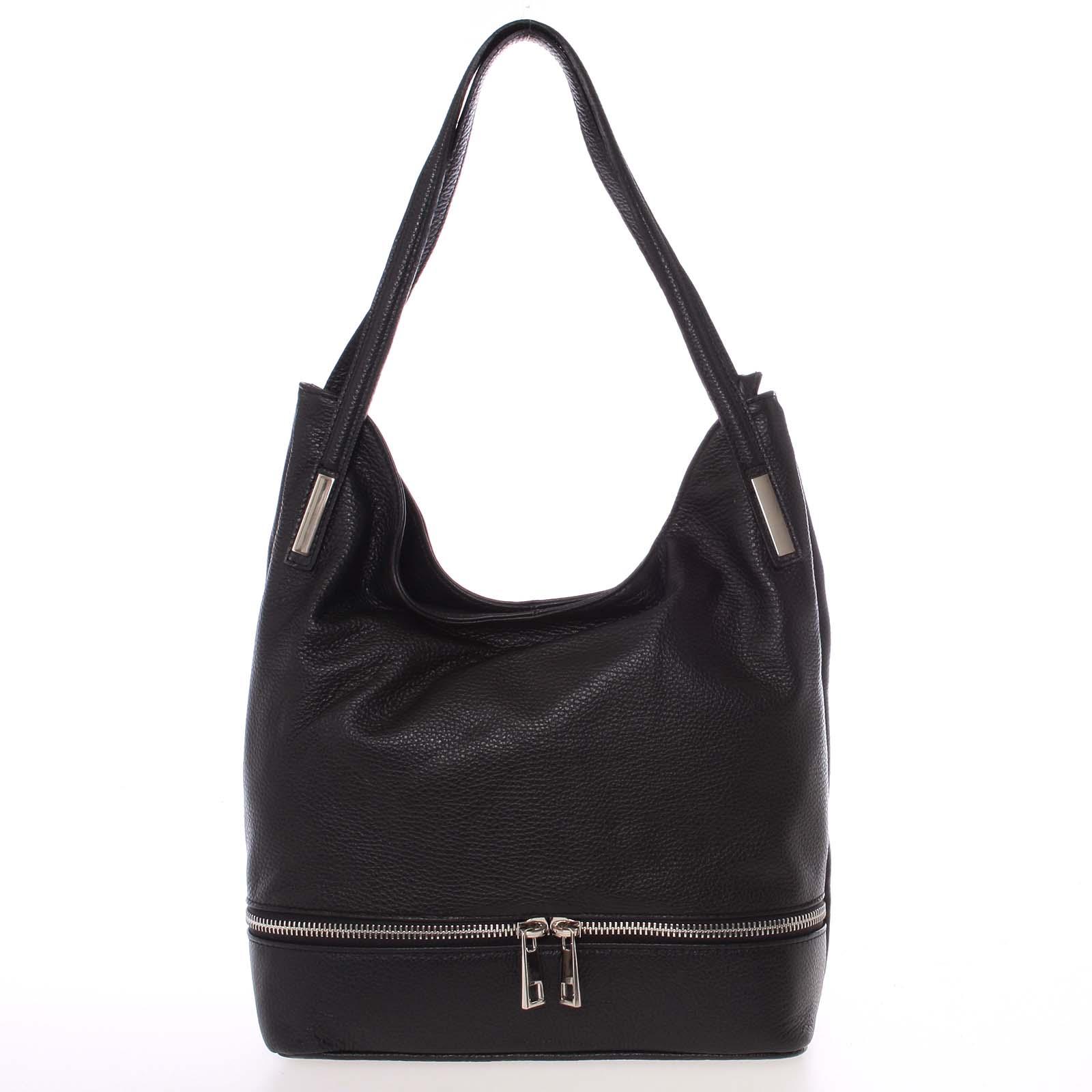 Dámská kožená měkká kabelka přes rameno černá - ItalY Nellis
