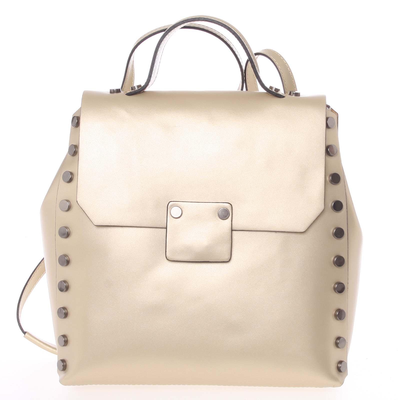 Unikátní zlatý dámský kožený batoh/kabelka - ItalY Nicoletta