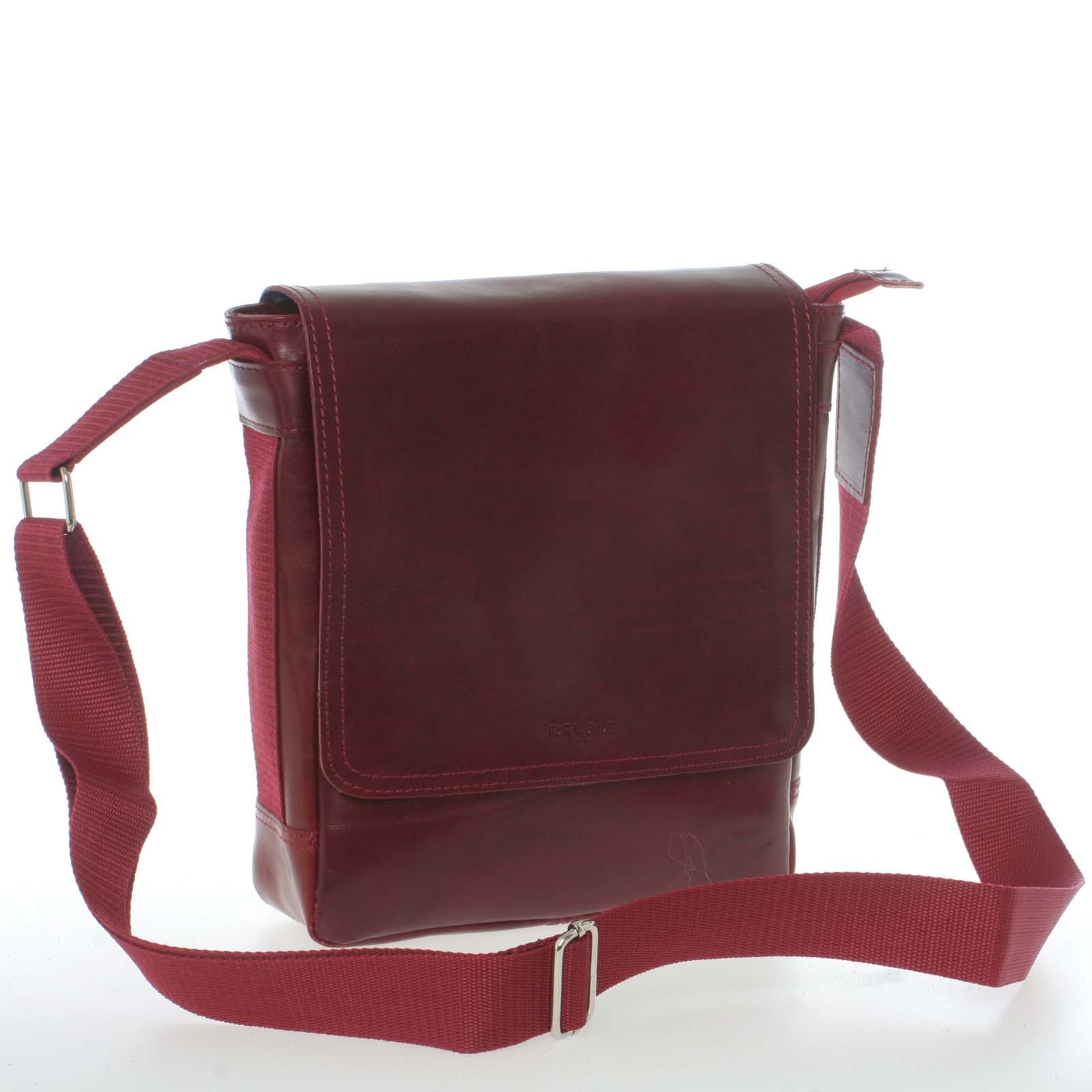 Červená stylová crossbody kožená taška - Delami 1246