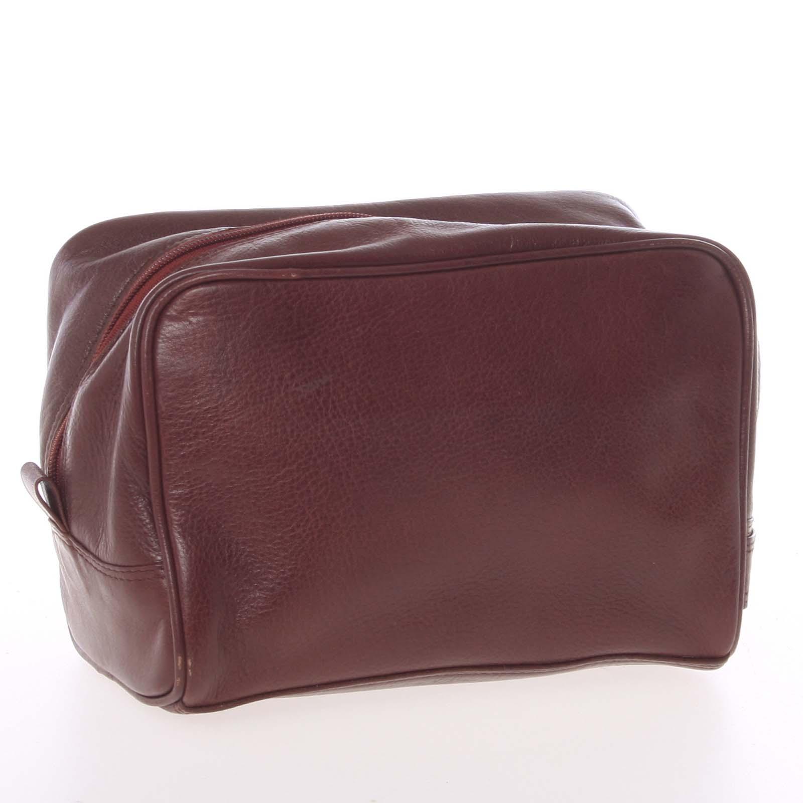 Pánská hnědá kožená kosmetická taška - E680