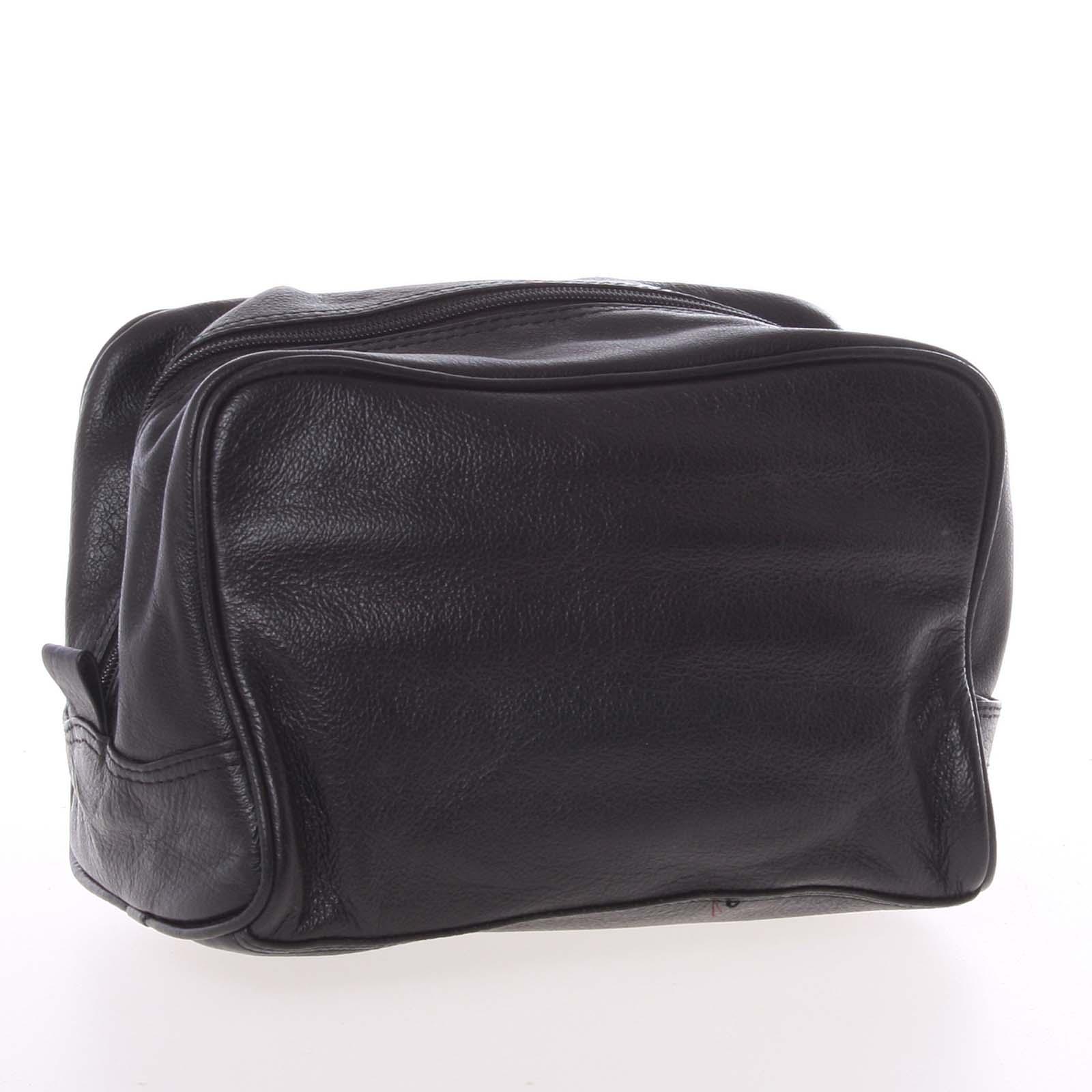 Pánská černá kožená kosmetická taška - E680