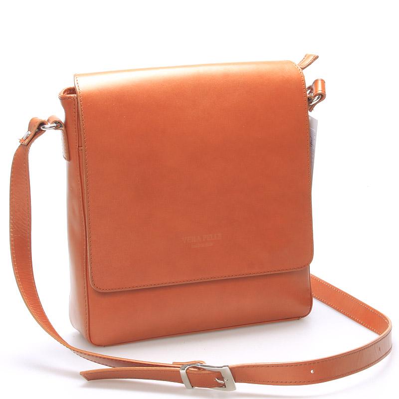Pánská luxusní kožená taška přes rameno světle hnědá - ItalY Crosby