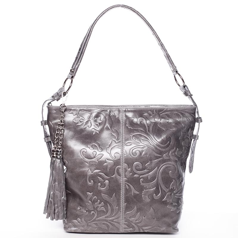 Dámská kožená kabelka přes rameno tmavě šedá - ItalY Heather