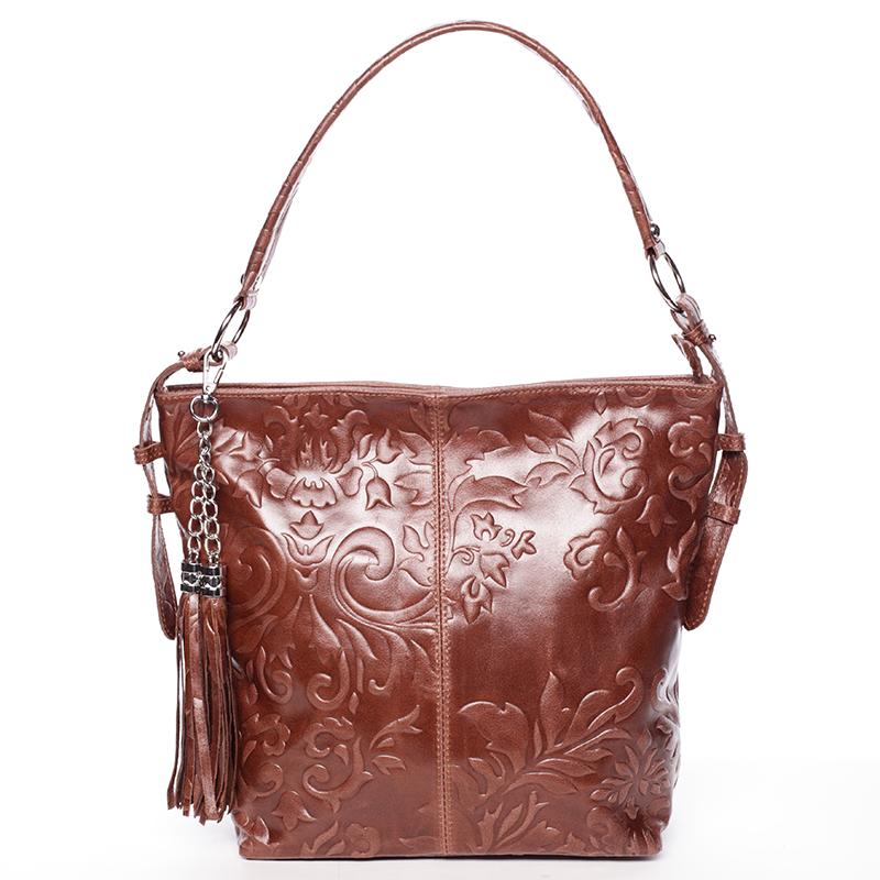 Dámská kožená kabelka přes rameno světle hnědá - ItalY Heather