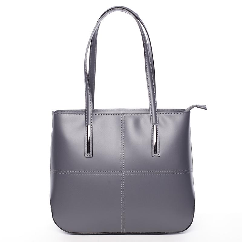 Moderní dámská kožená kabelka tmavě šedá - ItalY Adalicia