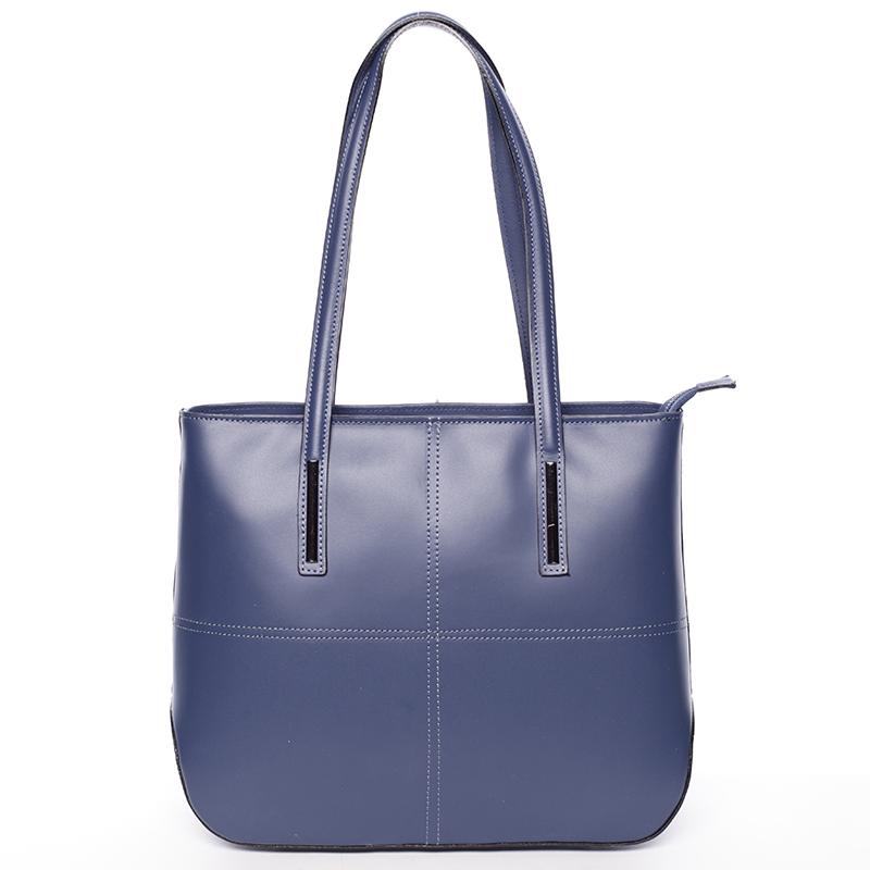 Moderní dámská kožená kabelka tmavě modrá - ItalY Adalicia
