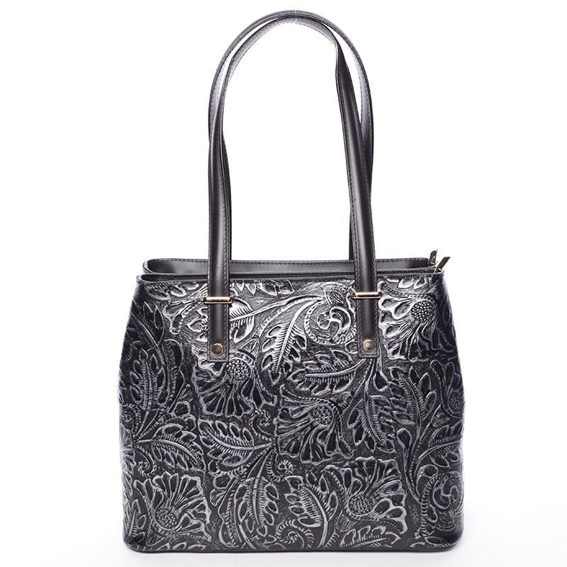 Exkluzivní dámská kožená kabelka stříbrná - ItalY Logistilla