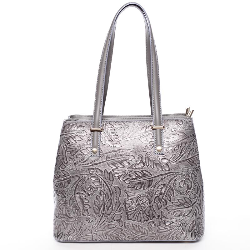 Exkluzivní dámská kožená kabelka tmavě šedá - ItalY Logistilla