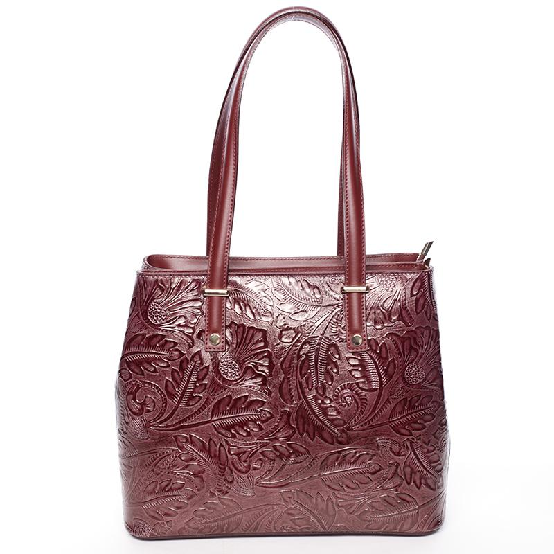 Exkluzivní dámská kožená kabelka vínová - ItalY Logistilla