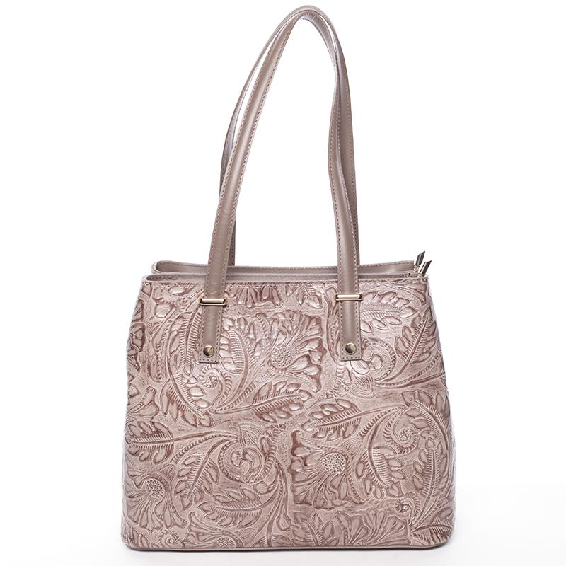 Exkluzivní dámská kožená kabelka tmavá taupe - ItalY Logistilla