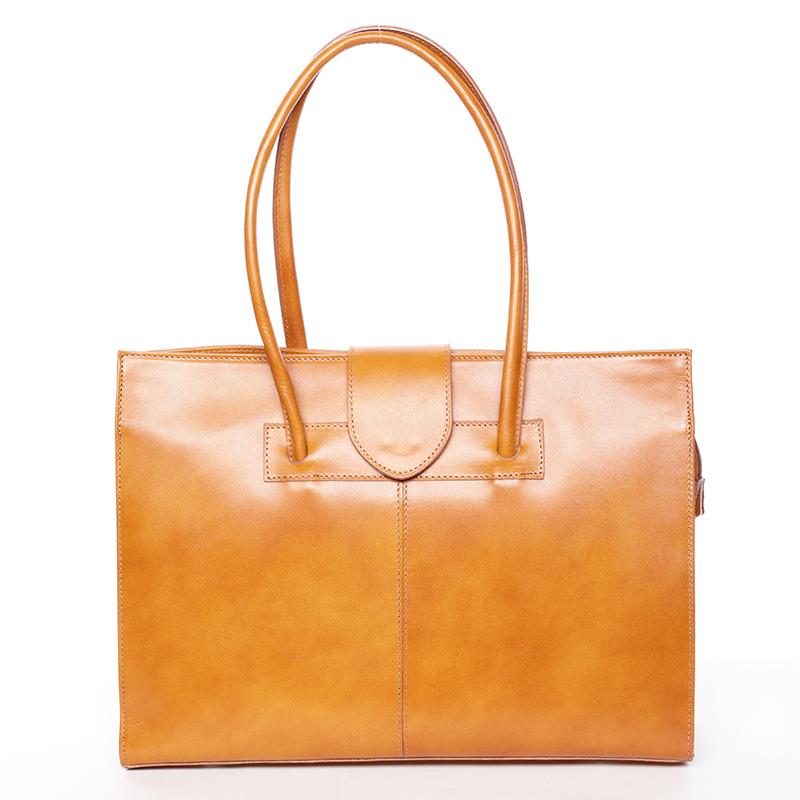 Velká elegantní dámská kožená kabelka světle hnědá - ItalY Zyphire