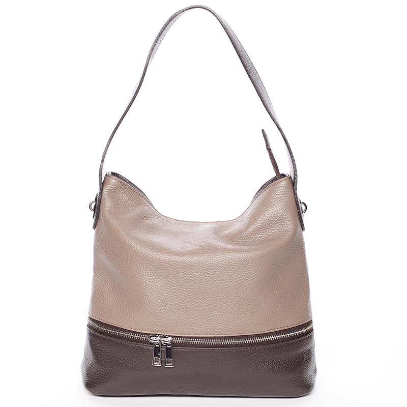 Dámská kožená kabelka přes rameno hnědá - ItalY Miriam