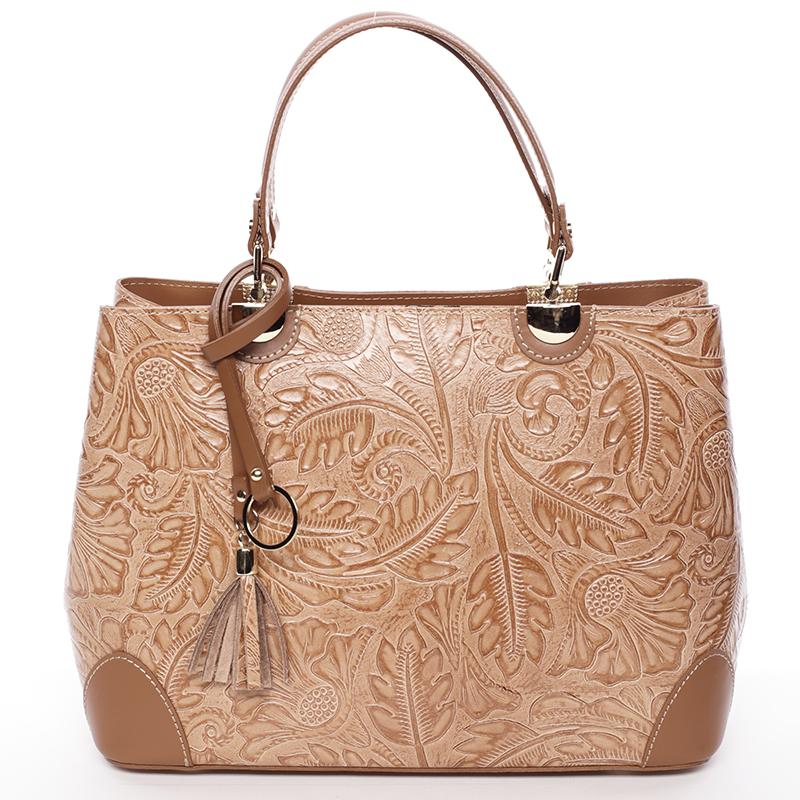 Originální dámská kožená kabelka koňaková - ItalY Mattie